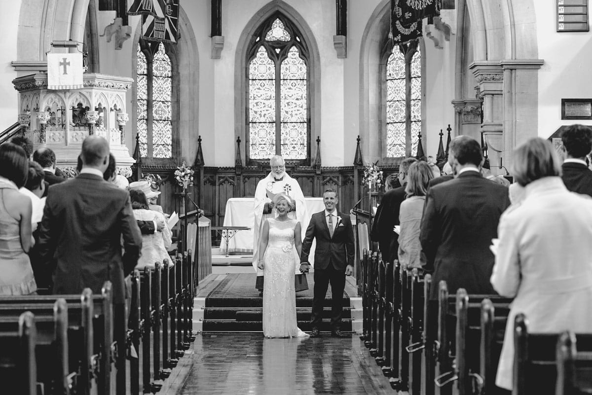 Bride and groom at the church Clandeboye Estate Wedding Photography