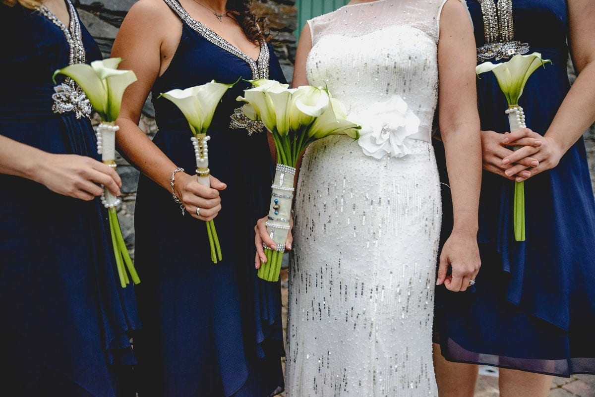 Dress and bouquet detail Clandeboye Estate Wedding Photography